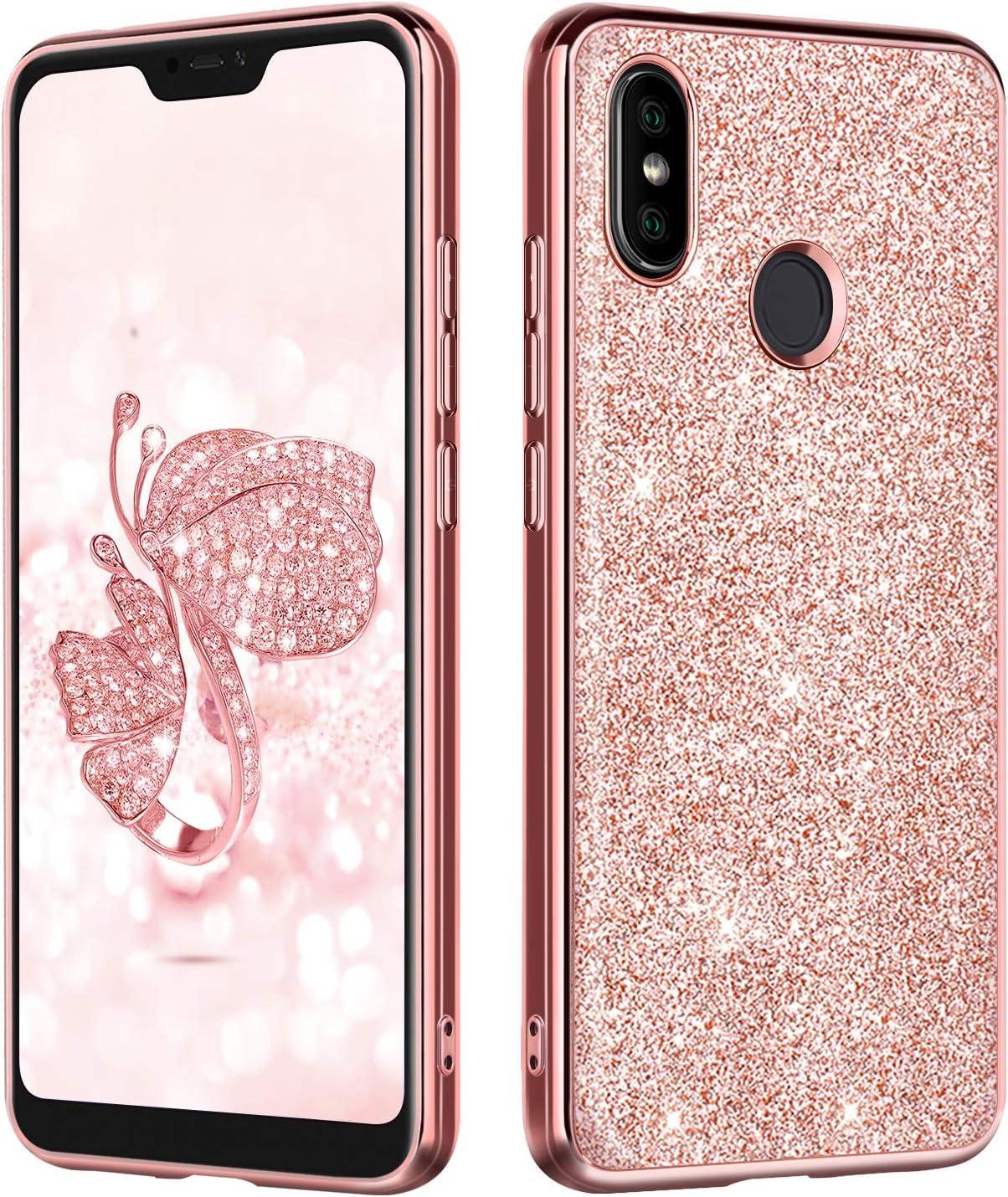 BENTOBEN Funda Xiaomi Mi A2 Lite, Carcasa Xiaomi A2 Lite Purpurina Cover Case Ultra Delgada Ligera Brillante Resistente Silicona PC Protectora Antigolpes Fundas para Xiaomi Mi A2 Lite 2018-Oro Rosa