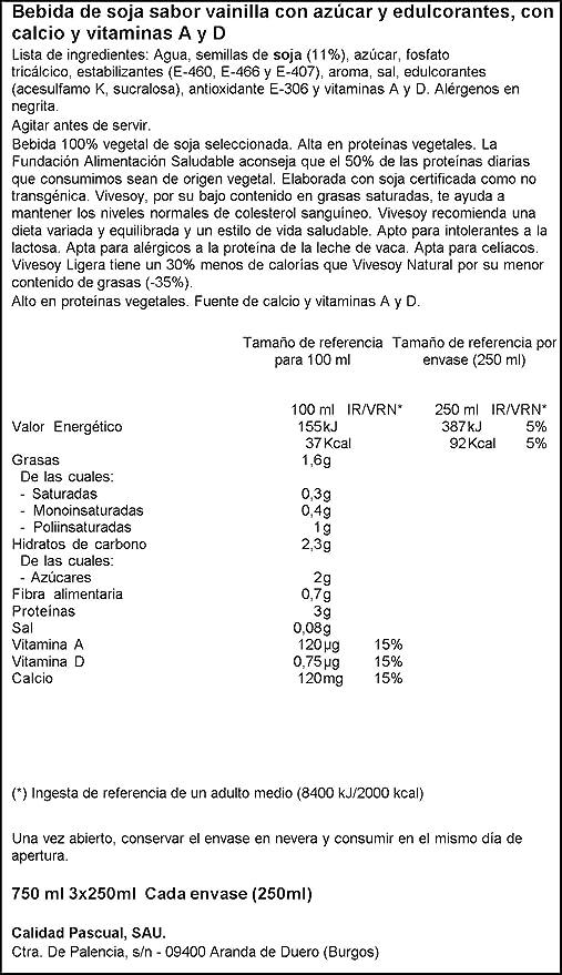 Vivesoy - Bebida de Soja sabor Vainilla - Paquete de 3 x 250 ml, Total: 750 ml: Amazon.es: Amazon Pantry