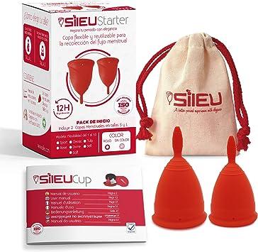 Copa Menstrual Sileu Cup Classic - Alternativa ecológica y natural a tampones y compresas - Bolsa de regalo - Talla S + L, Rojo