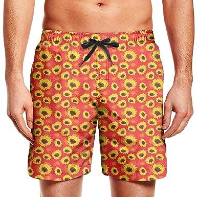 6a6bb24689 Amazon.com: Finaif Mens Yellow Sunflower Red Swim Trunks Knee Length ...