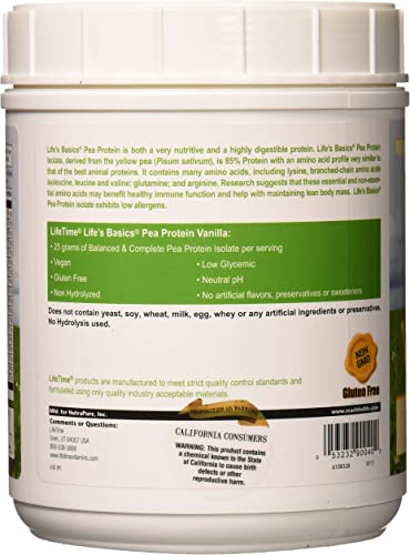 Lifetime Life s Basics Pea Protein Powder, Natural Vanilla Flavor 1.2lb