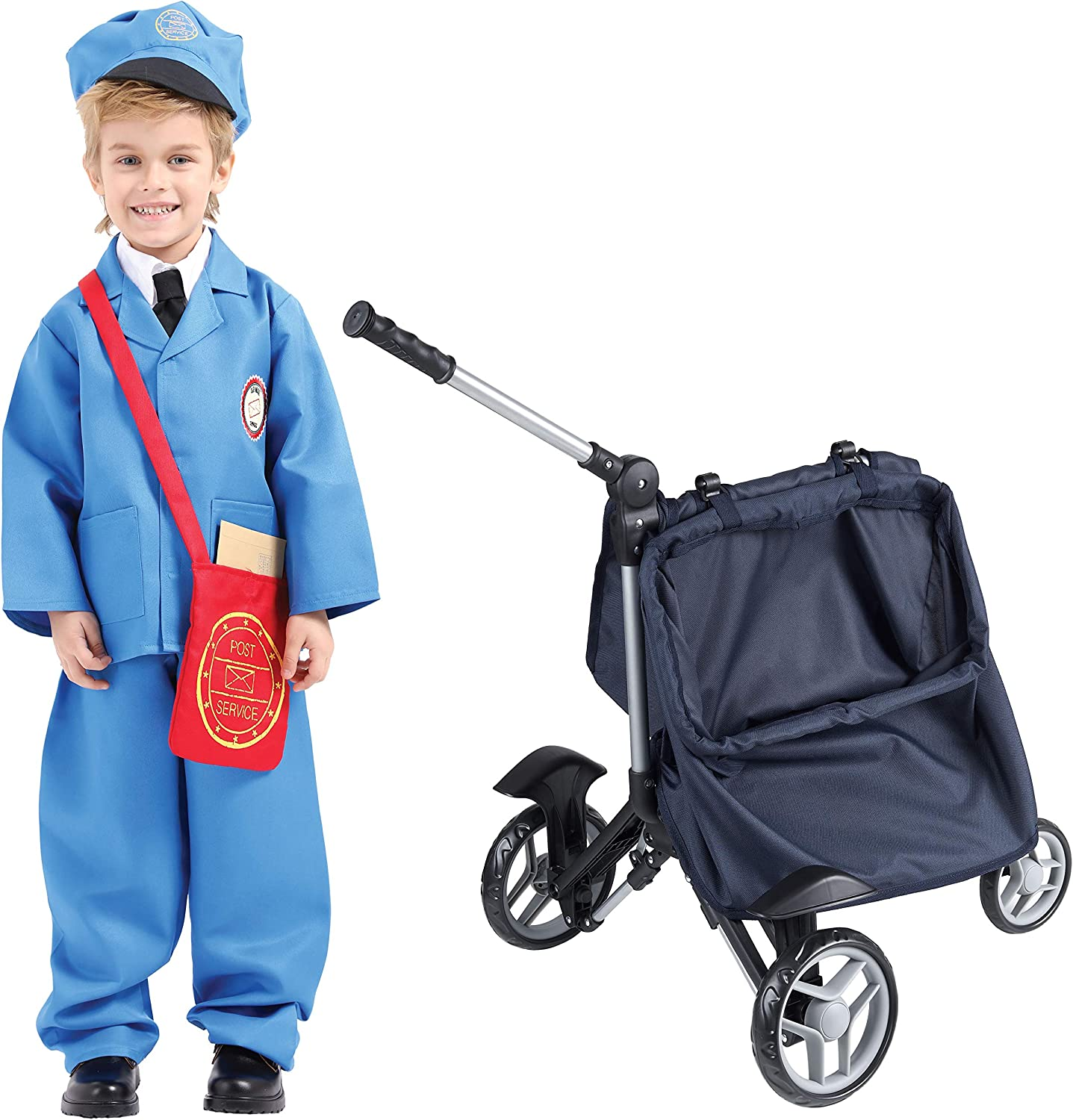 Mommy and Me Mail Carrier for Pretend Mailman - Kids Postman Cart Toy for Mail and Letters Delivery with Mail Bag (Costume Not Included)