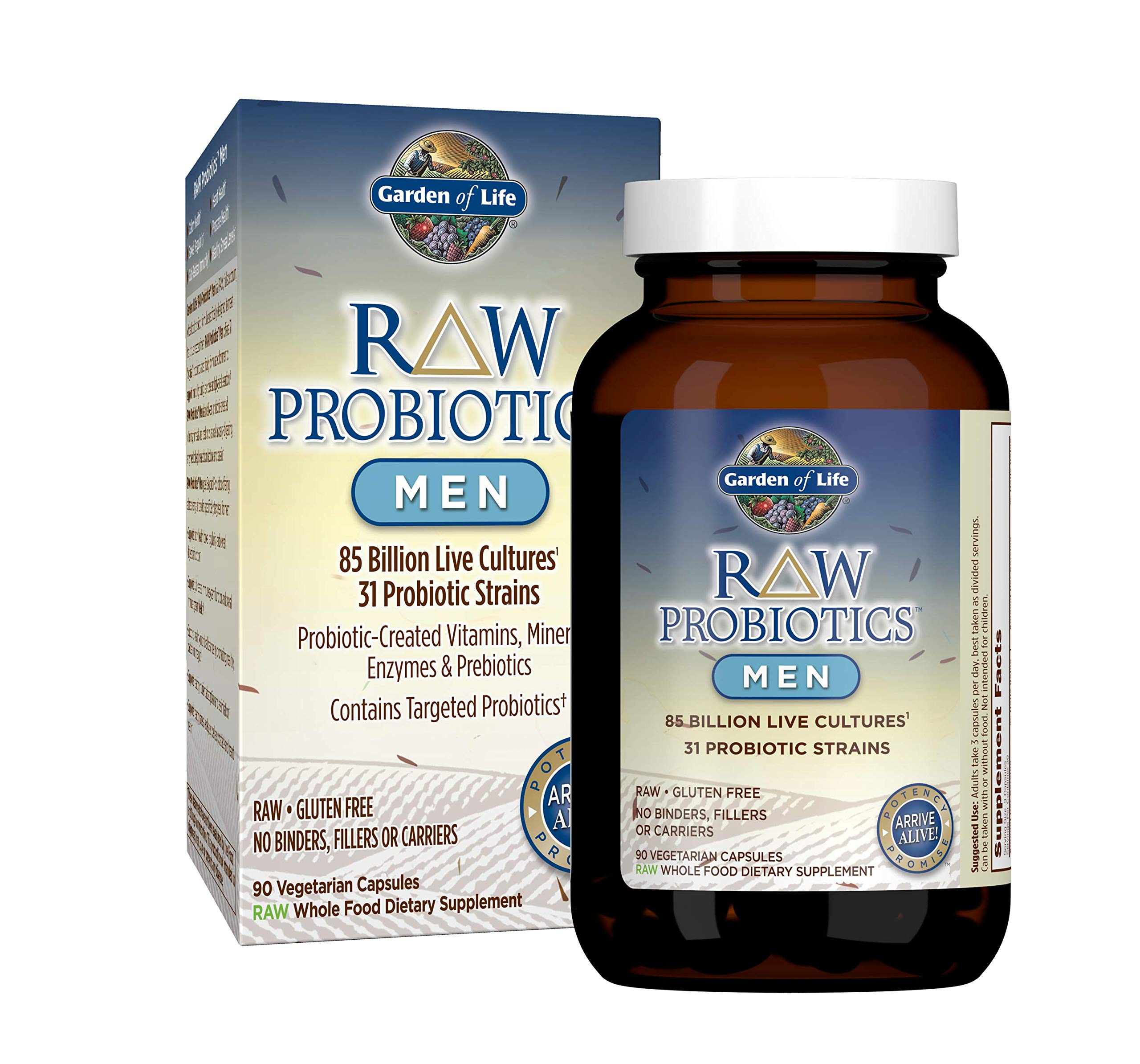 Garden of Life - RAW Probiotics Men - Acidophilus and Bifidobacteria Probiotic-Created Vitamins, Minerals, Enzymes and Prebiotics - Gluten and Soy-Free, Non-GMO - 90 Vegetarian Capsules by Garden of Life