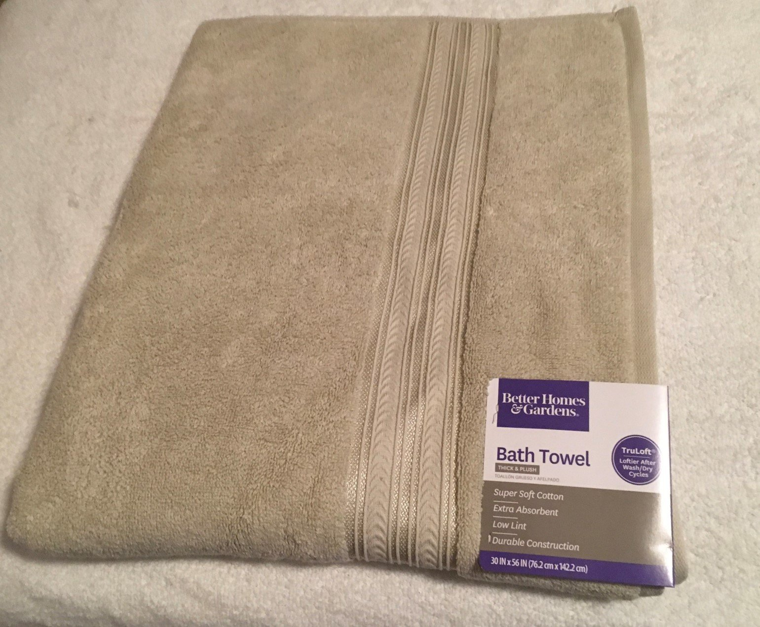 Better Homes and Gardens Thick and Plush Solid Bath Towel (Bath Towel: 30'' x 56'', Papyrus Beige)