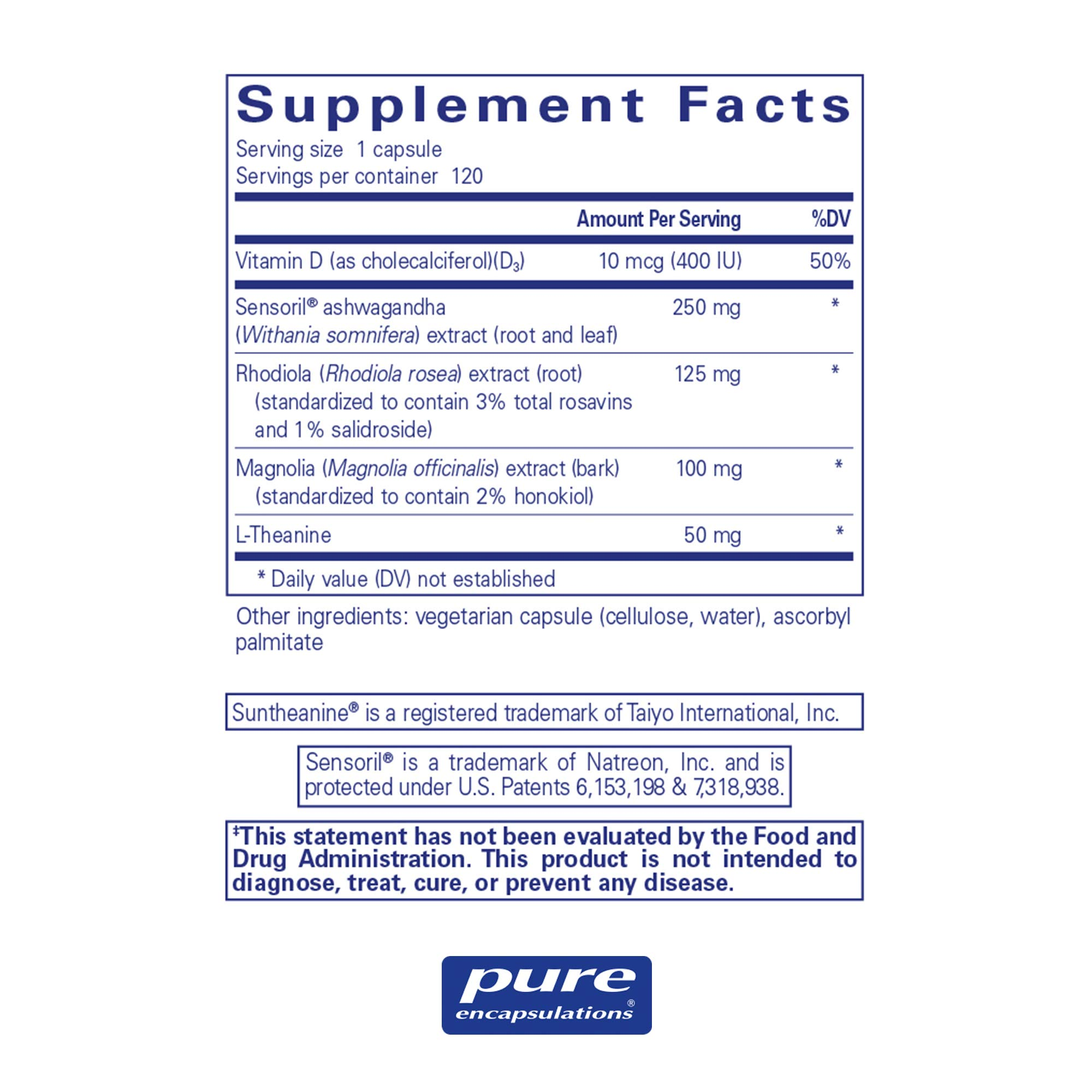 Pure Encapsulations - Cortisol Calm - Hypoallergenic Supplement to Maintain Healthy Cortisol Levels* - 120 Capsules by Pure Encapsulations (Image #2)