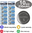 CR2032 Special FOB Batteries CR 2032 High Capacity 230mAh 3V CELEWELL Brand 10 Count 3 Years Warranty