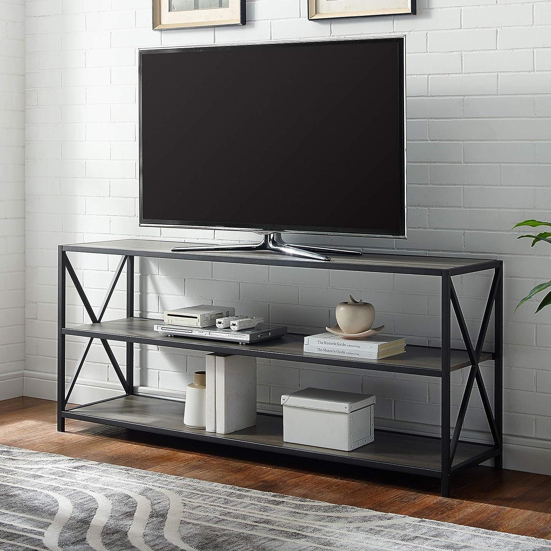 WE Furniture AZS60XMWDW Console Table 60' Dark Walnut/Black Metal