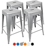 """24"""" Counter Height Bar Stools! (SILVER) by UrbanMod, [Set Of 4] Stackable, Indoor/Outdoor, Kitchen Bar Stools,! 330LB Limit, Metal Bar Stools! Industrial, Galvanized Steel, Counter Stools!"""