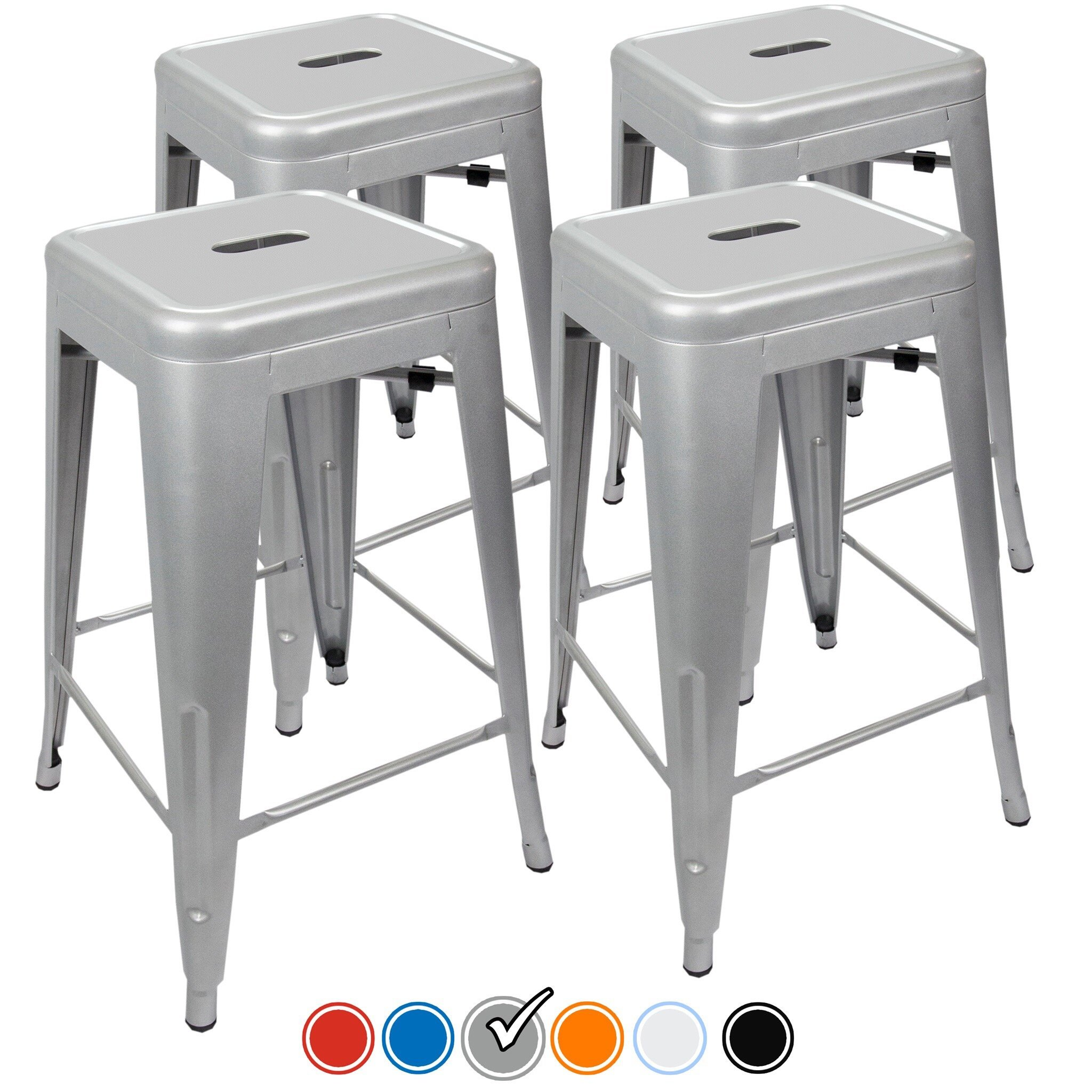 "24"" Counter Height Bar Stools! (SILVER) by UrbanMod, [Set Of 4] Stackable, Indoor/Outdoor, Kitchen Bar Stools,! 330LB Limit, Metal Bar Stools! Industrial, Galvanized Steel, Counter Stools!"
