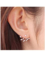 Elensan Rose Gold Leaf with Cz Crystal Ear Cuff Jacket Front Back Stud Earring for Woman Girls(Two Pairs)