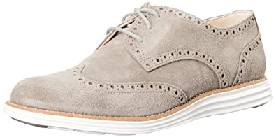 Cole Haan Women's LunarGrand Waterproof Wingtip Oxford, Charcoal Suede  Waterproof, ...