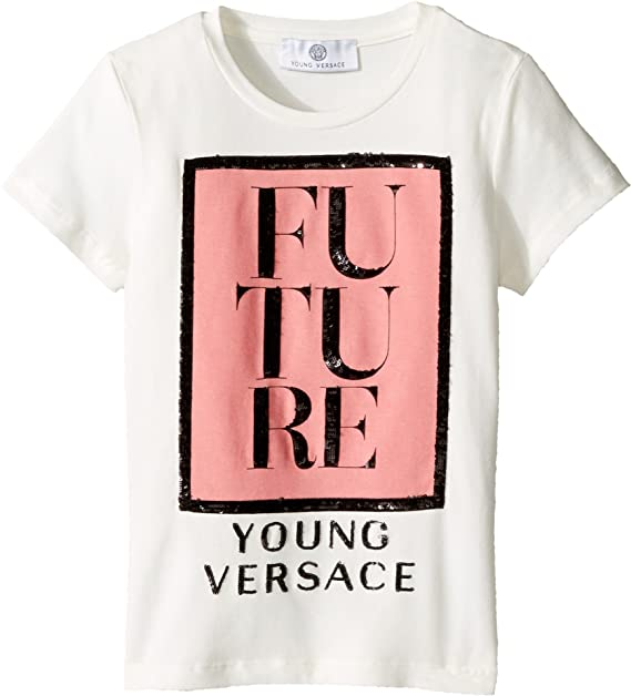 202e16e58 Versace Kids Baby Girl's Short Sleeve 'Future' Logo T-Shirt (Toddler/Little  Kids) White/Multi 4T: Amazon.ca: Clothing & Accessories