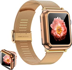 Girovo Compatible with Apple Watch Bands 42mm Women Men, Stainless Steel Mesh iWatch Bands with Screen Protector Case Cover Accessories for Apple Watch Band Series 3 Series 2 Series 1, Rose Gold