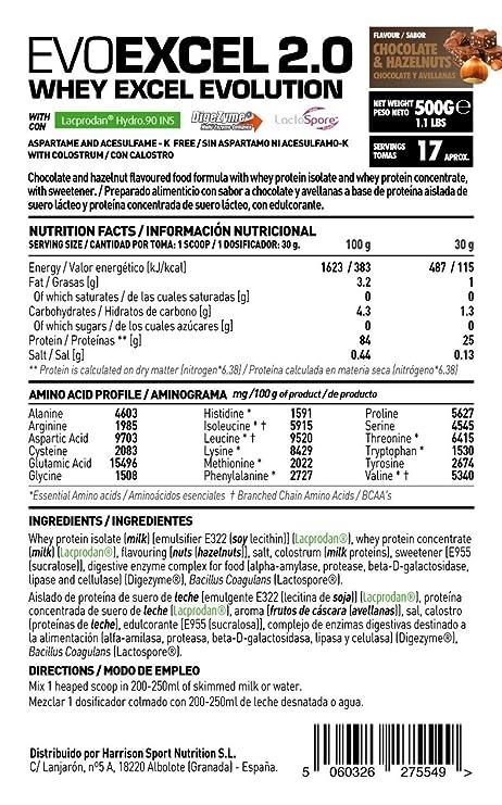 Whey Protein Isolate + Whey Protein Concentrate Evoexcel 2.0 de HSN Sports, Sin Gluten, Apto Vegetariano, Sabor Chocolate, 500 gr