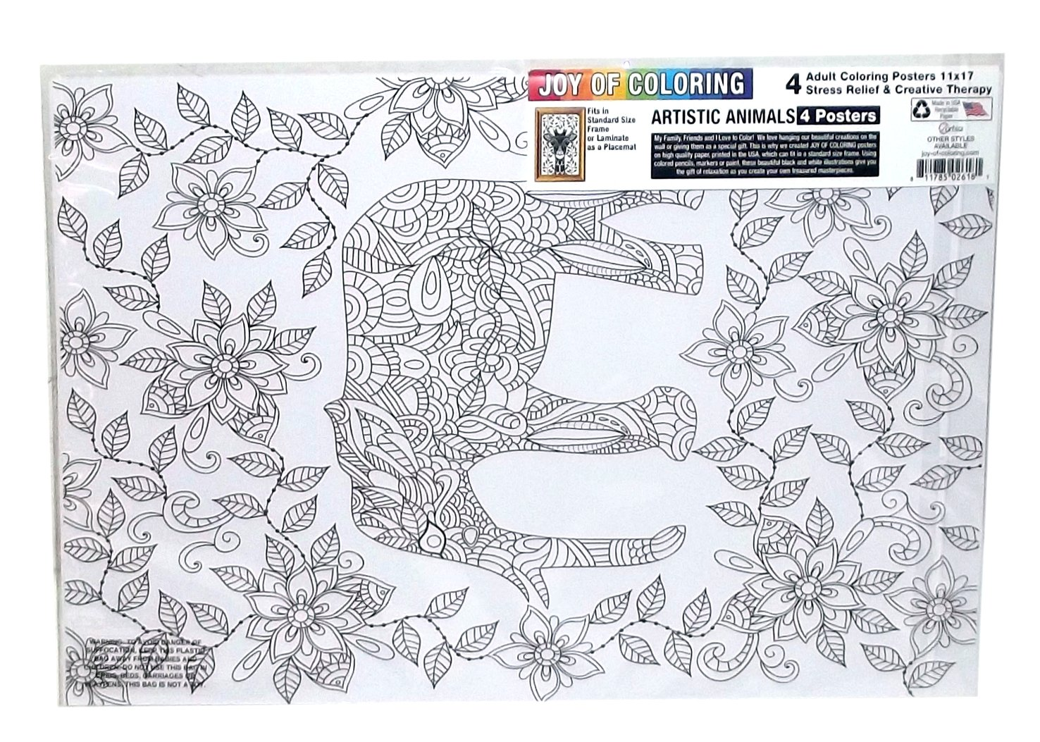 The coloring book poster - Amazon Com Zorbitz 2618 Joy Of Coloring Adult Coloring Posters 11 X17 4 Pkg Artistic Animals Toys Games