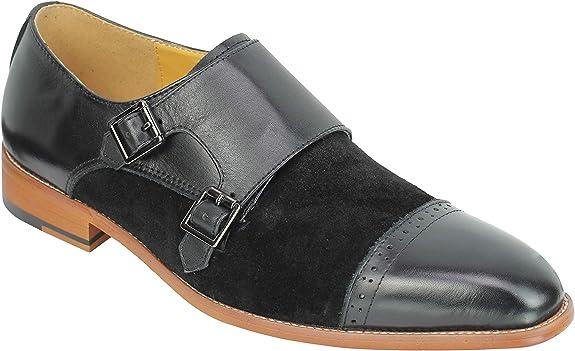 Zapatos de vestir para hombre de ante y piel de 2 tonos, estilo retro, con correa de monje