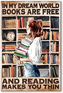 Designfullprint Books are Free and Reading Makes You Thin Poster Wall Art Hanging Home Decor Office Decorations Gift for Bookworm (12