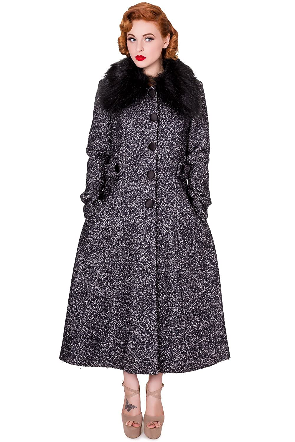 1930s Style Coats Banned Grey Simple Game Faux Fur Vintage 1940s 50s Winter Coat PLUS Sizes UK 18-22 £89.99 AT vintagedancer.com