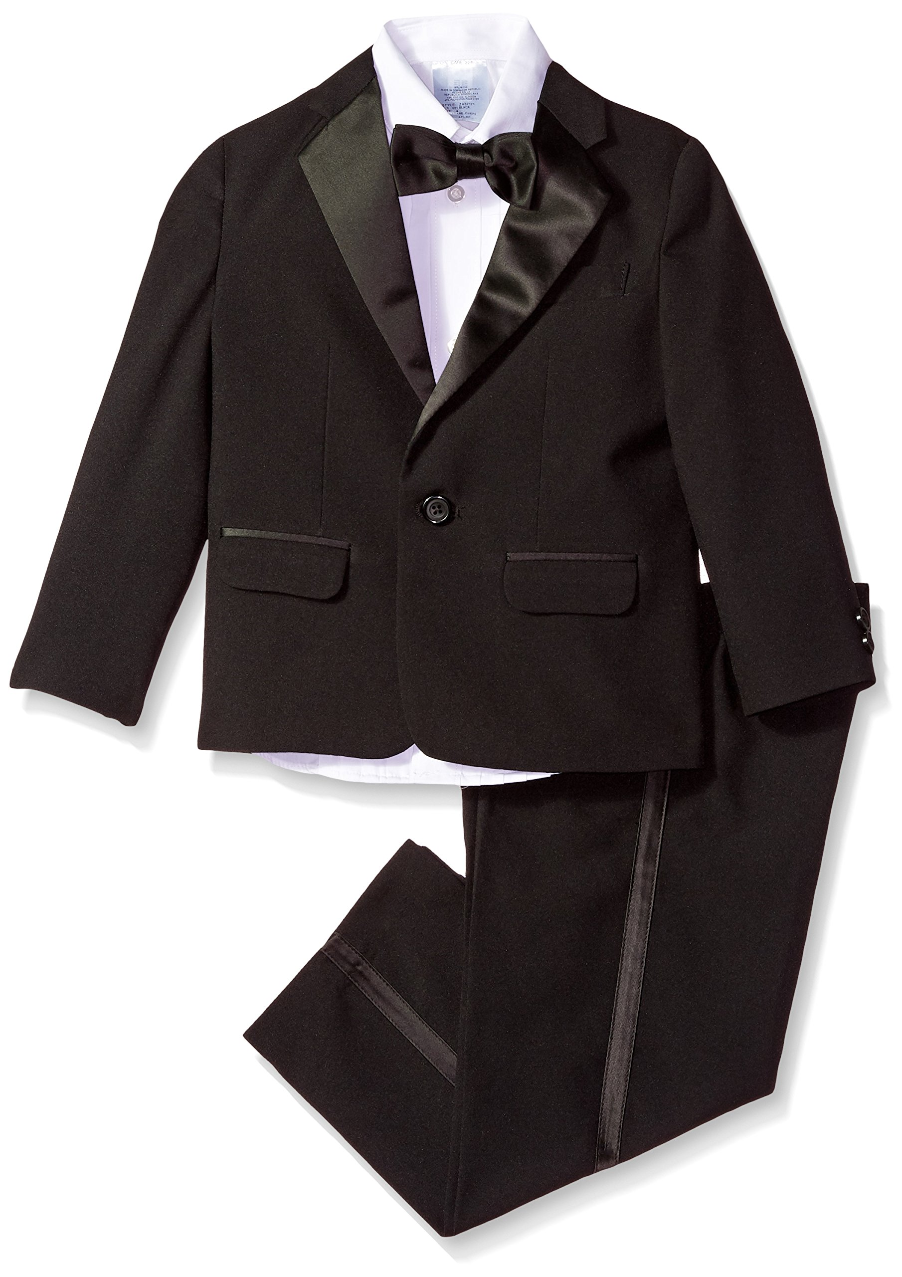 Izod boys 4-Piece Formal Tuxedo Set with Jacket, Pants, Shirt, and Bow Tie, Black, 7