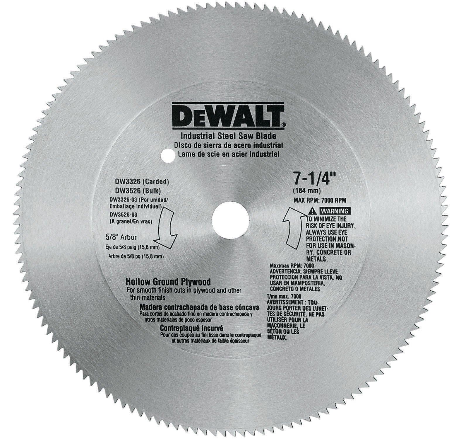 Disco Sierra DEWALT 7 1/4 para madera contrachapada molida