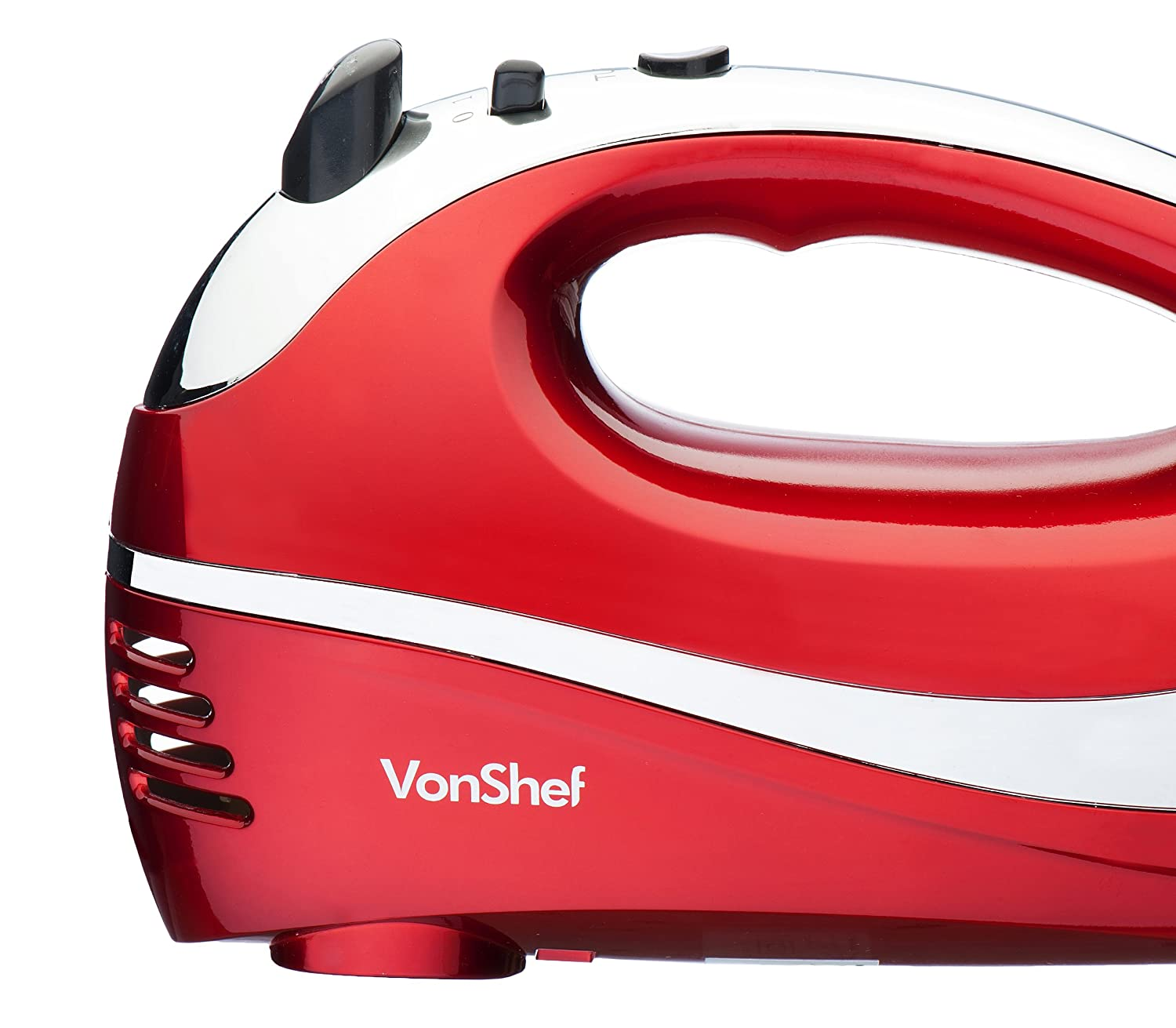 6 Speed With Turbo Button Dough Hook FREE Balloon Whisk Red VonShef Professional 250W Hand Mixer Whisk With Chrome Beater