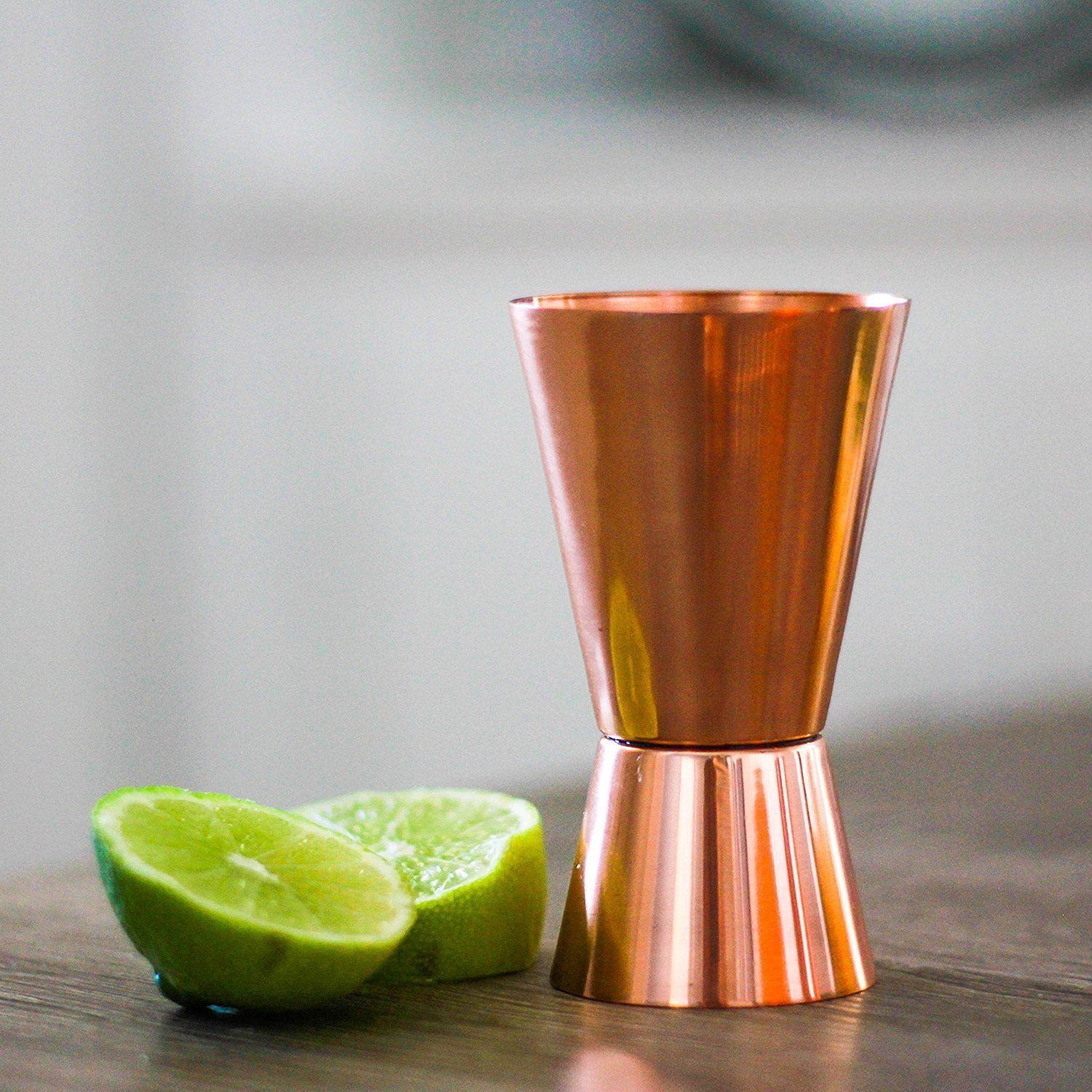 SouvNear Pure Copper Cocktail Jigger - 1oz (30ml) over 2oz (60ml) Shot Glasses - Bar Accessories