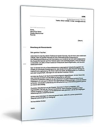 Anschreiben Bewerbung Fitnesstrainer Word Dokument Download