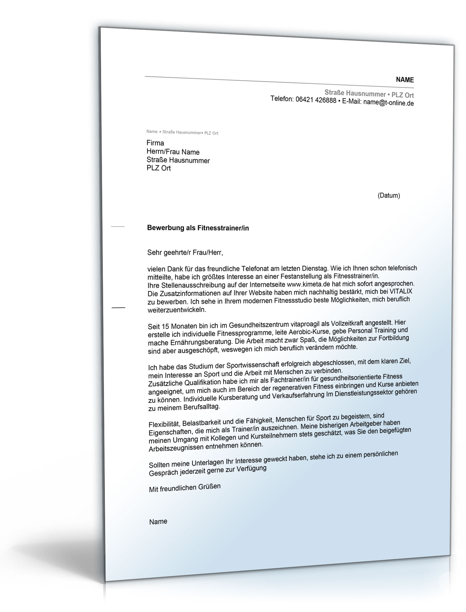 anschreiben bewerbung fitnesstrainer word dokument download amazonde software - Eigenschaften Bewerbung