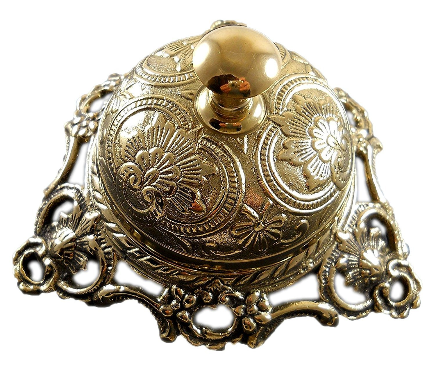 PARIJAT HANDICRAFT Handcrafted Service Desk Bell Ornate Solid Brass Hotel Counter Bell Desk Bell Service Bell for Hotels, Schools, Restaurants, Reception Areas, Hospitals, Warehouses