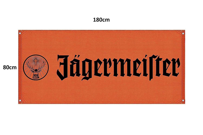 Jagermeister Fahne Banner Orange 180x80cm Amazon De Bier Wein