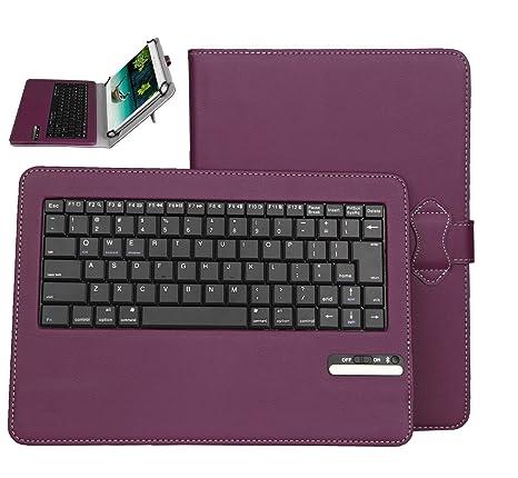 BQ Aquaris M10 Funda con Teclado Bluetooth Inalámbrico Funda de Cuero con Teclado para Tablet PC
