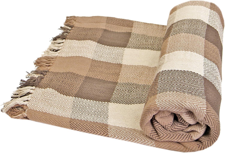 Just Contempo - Manta para Sofa (algodón), diseño a Cuadros, 100% algodón, Beige/marrón, Double 228cm x 254cm (90