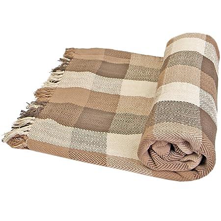 Just Contempo - Manta para Sofa (algodón), diseño a Cuadros, 100 ...