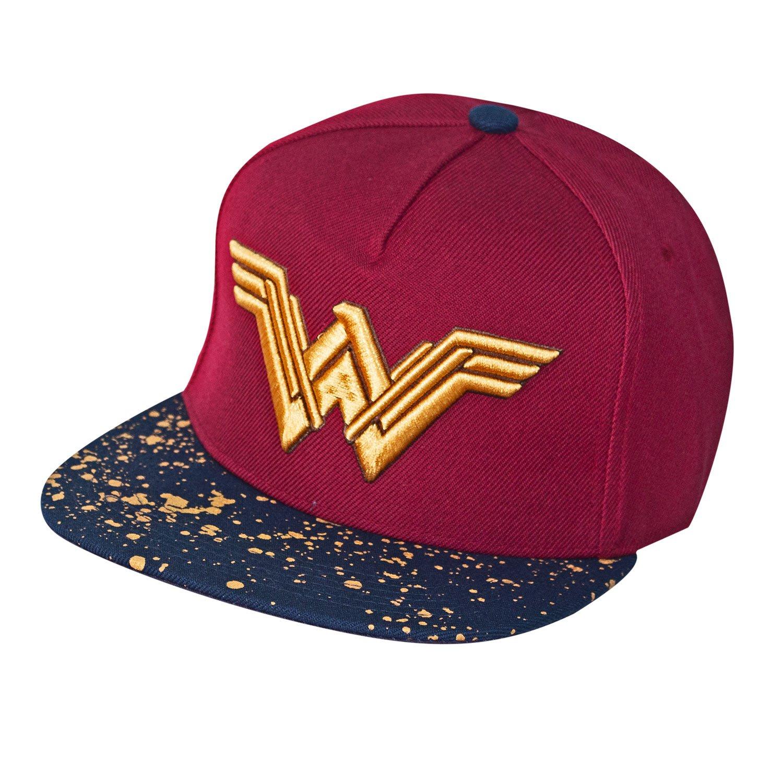 Amazon.com  Wonder Woman Metallic Logo Burgundy Snapback Hat  Clothing ee6f57e6144