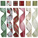 """SANNO Christmas Wired Ribbon, Assorted Plaid Sparkling Decorations Wired Sheer Glitter Tulle Ribbon 36 Yards (2.5"""" Wide x 6Yard Each) - Floral Poinsettia Plaid Gold"""