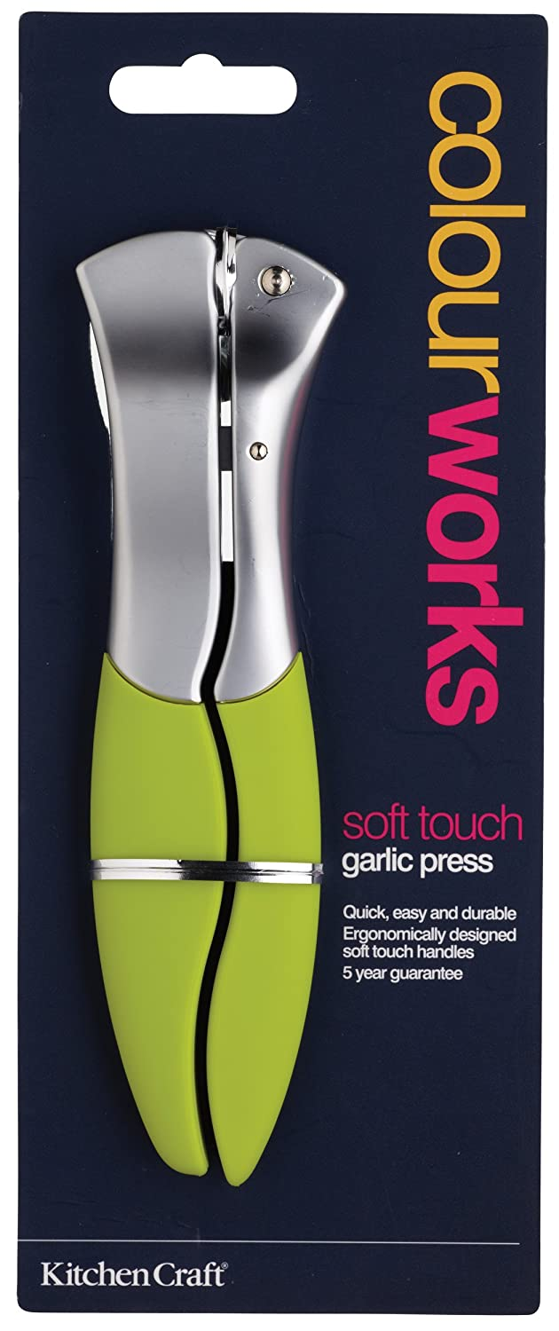 Kitchen Craft Colourworks Lime Green Garlic Press with Soft Touch Handles