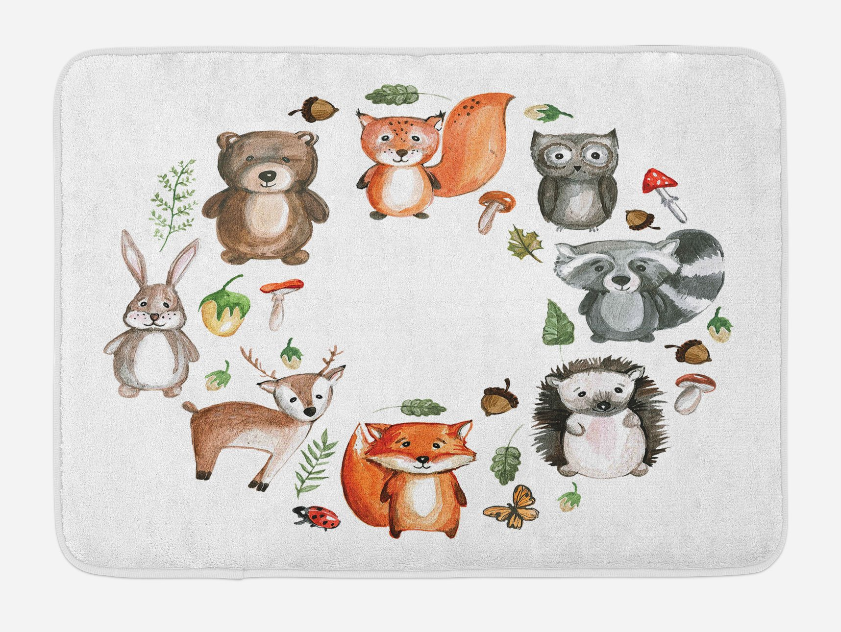 Lunarable Woodland Bath Mat, Animals of The Forest with Mushrooms Acorns Circular Frame Cartoon Pastel Colors, Plush Bathroom Decor Mat with Non Slip Backing, 29.5 W X 17.5 W Inches, Multicolor
