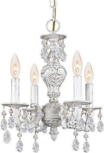 Crystorama Paris Market 4 Light Spectra Crystal White Mini Chandelier