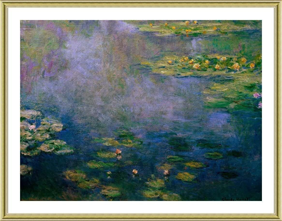 Alonline Art Water Lilies Ii By Claude Monet Gold Framed Picture Printed On 100 Cotton Canvas Attached To The Foam Board Ready To Hang Frame 18 X14