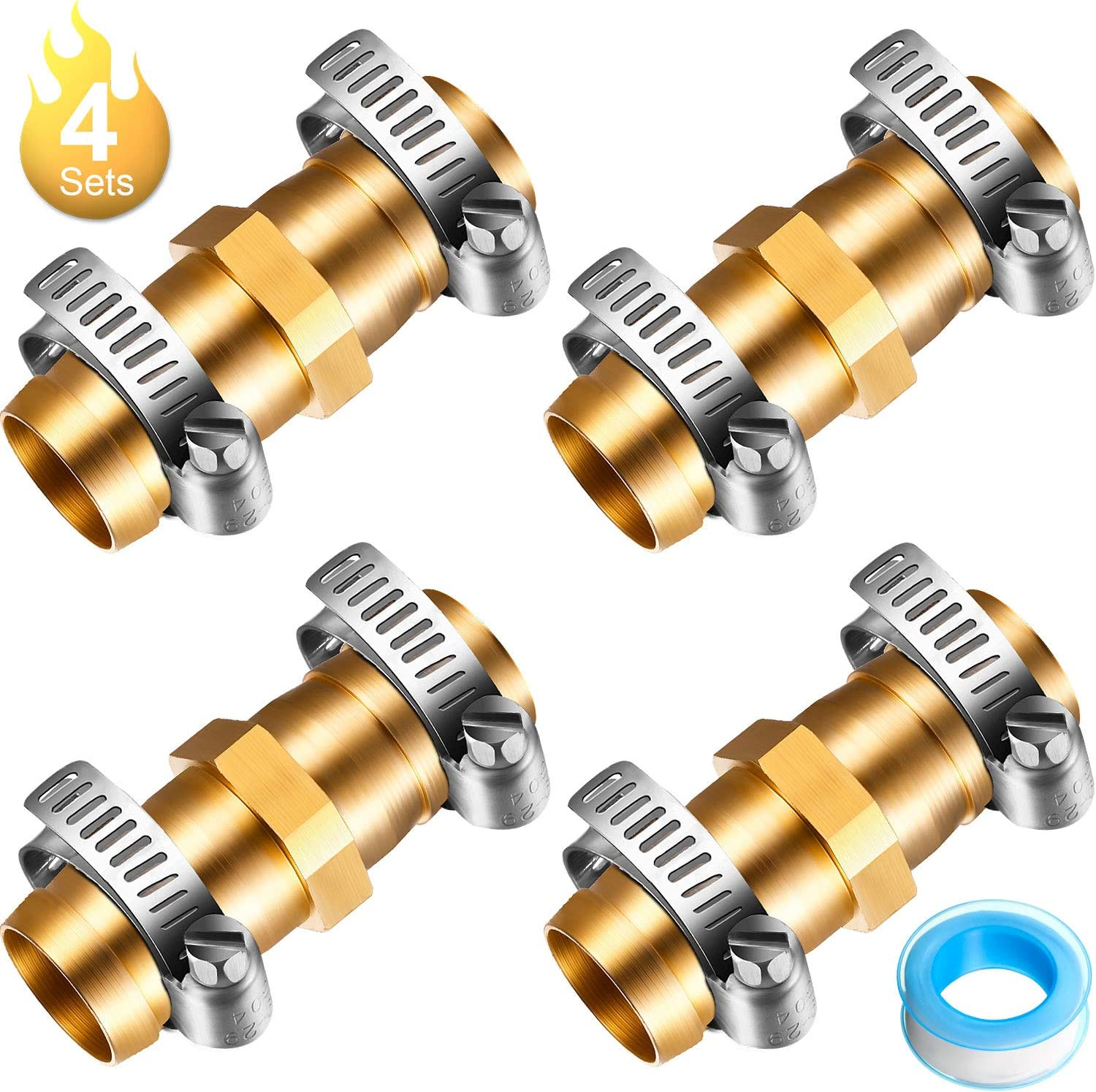 4 Sets 5/8 Inch Brass Garden Hose Connector Hose Repair Kit Water Hose Mender End Fitting Splicer Mender with 8 Pieces Stainless Steel Clamp and Seal Tape
