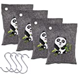 4 Pack Activated Bamboo Charcoal Air Purifying Bag, Smell Removers, Eradicate Paint, Cigarette smoke and Musty Damp Smells, 200g/bag, Include 4 Hooks