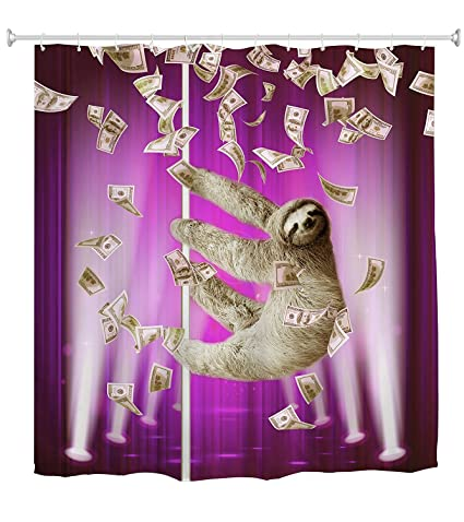 KLOLKUTTA Funny Sloth Waterproof Shower Curtain Animal Decor Cartoon On The Towel Extra Large