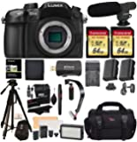 "Panasonic LUMIX DMC-GH4KBODY DSLM Mirrorless 4K Cinematic Camera Body Only + 2 Transcend 64GB + LED Light Flash Kit + Polaroid 72"" Tripod + Microphone + Stabilizer + 2 Spare Batteries + Charger + More"
