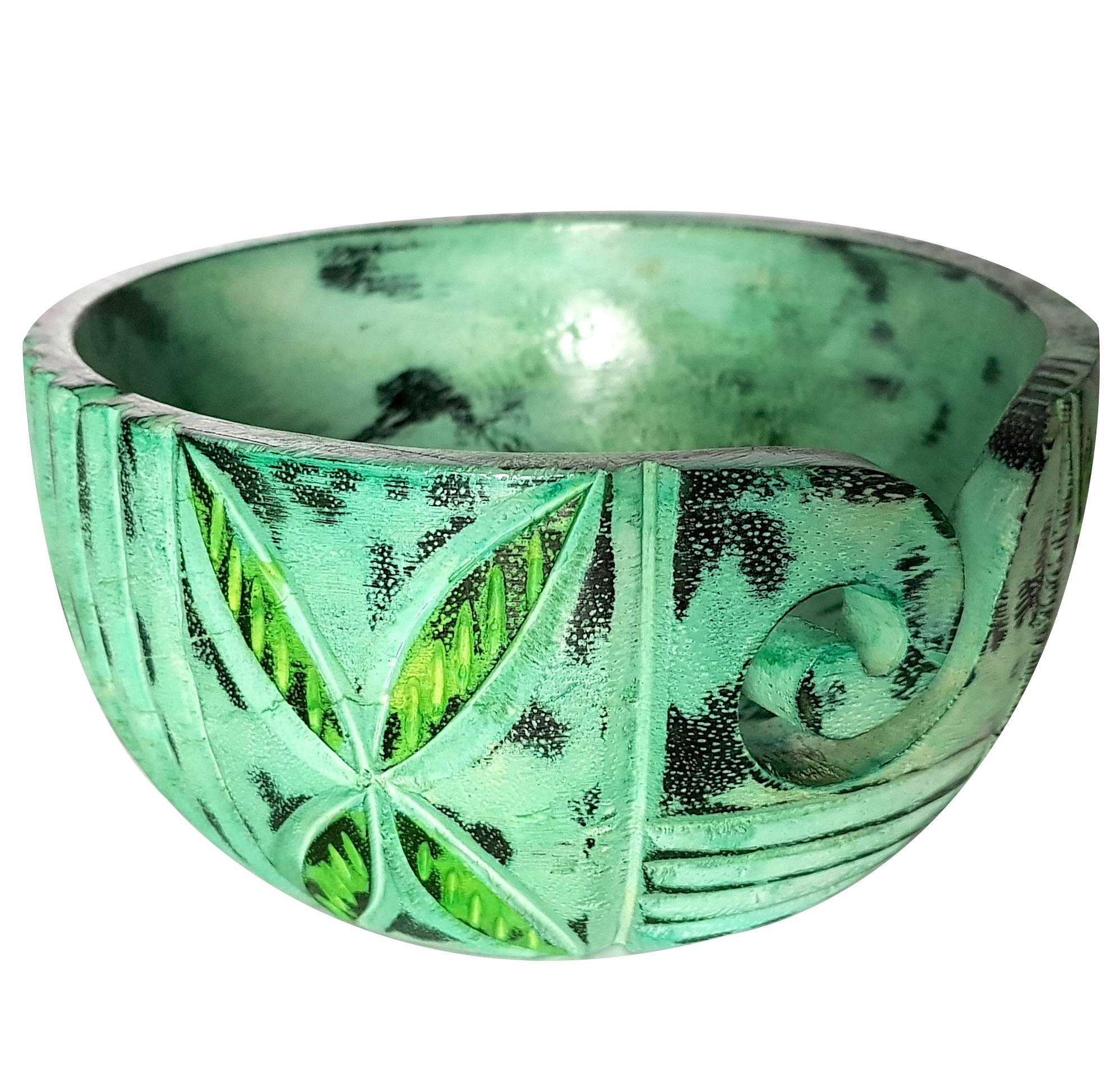 Beautiful Home Decorative Yarn Storage Wooden Bowl Nautical Handmade Green Retro Look Article - Vintage Gifts Collection