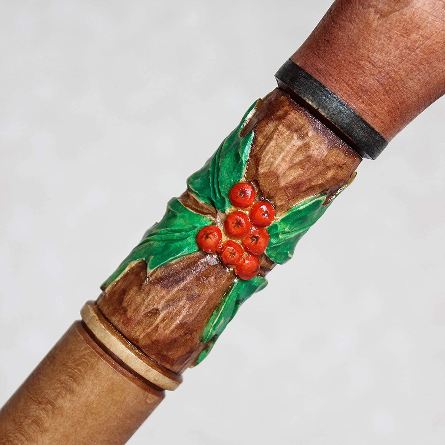 Christmas cane with Santa Custom walking stick Hand carved Candy