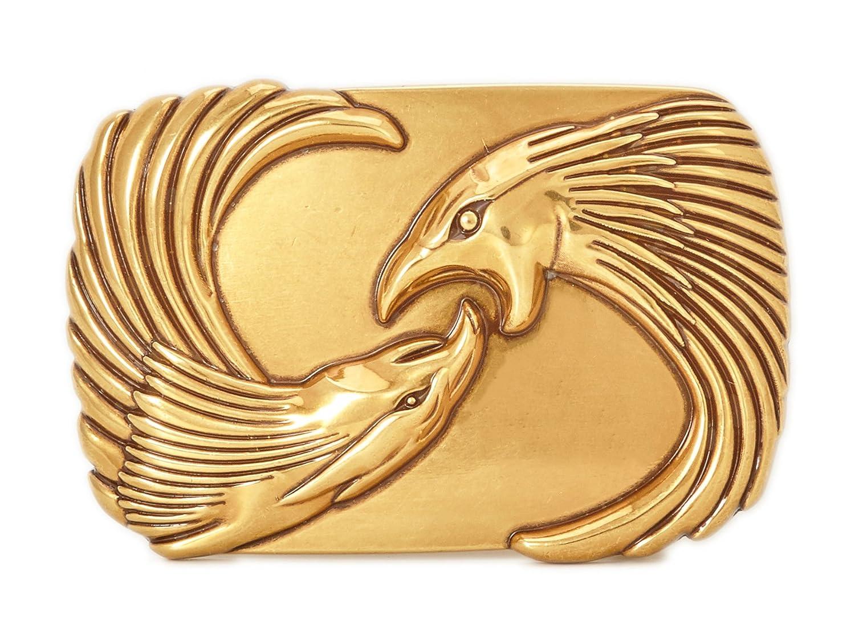 Gurscour Fashion Western Antique Silver Engraved Flower Bird of Prey 3D Eagle Belt Buckle