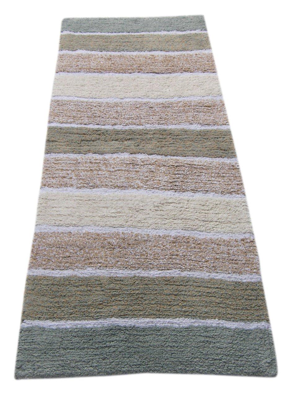 Chardin home Cordural Stripe Bath Runner, Gray/Beige with Latex Spray Non-Skid Backing, 24'' W x 60'' L