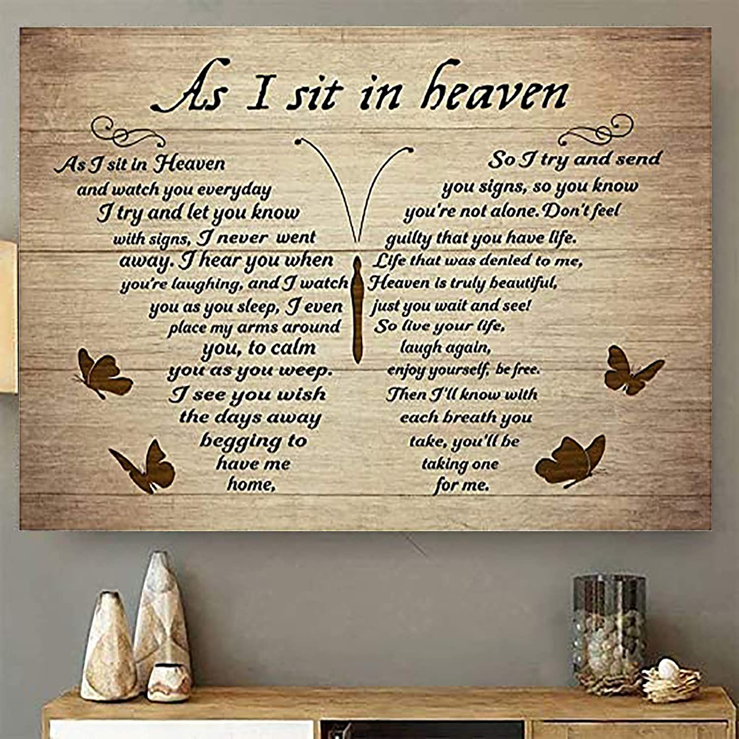 Butterflies Vintage Canvas Wall Art Canvas As I Sit in Heaven and Watch You Everyday Poem Painting on Canvas Wooden Background Rustic Inspirational Quotes Wall Art Paintings Quotes Poem Room Decoration For Living Room Kitch Wall Hanging Paintings No Frame (16