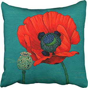 Tarolo Decorative Throw Pillow Cases Covers My Honey Orange Red Poppy Flower And Pod In Teal 16x16 Inches Decor Pillow Cove Case Pillowcase Two Sided