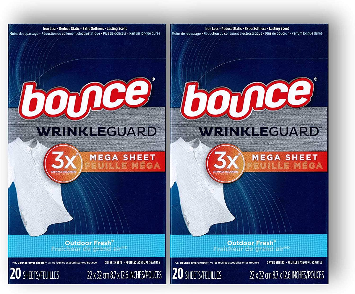 Bounce Wrinkle Guard Dryer Sheets - Outdoor Fresh - Mega Sheet - 20 Count Sheets Per Box - Pack of 2 Boxes